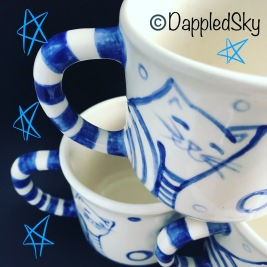 Blue and White Pottery - Cat mugs