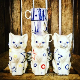 Starman cats and Drip-Drop cups and saucers