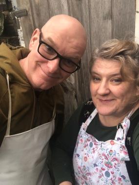 Paul and Deborah in their pinnies !